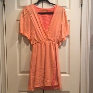 Alice and Olivia Coral Chiffon Dress XS